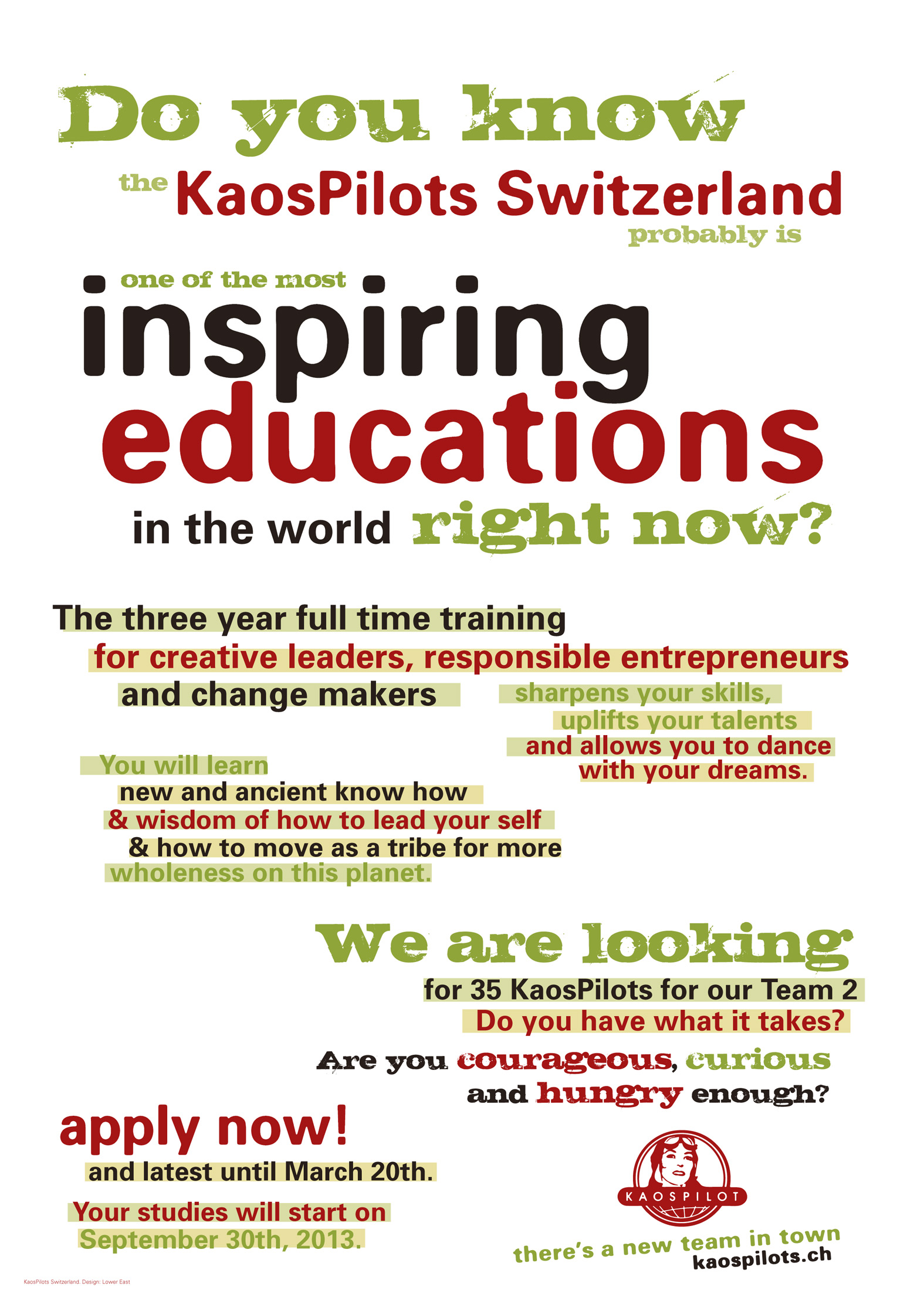 KaosPilot Switzerland poster designed by Lower East