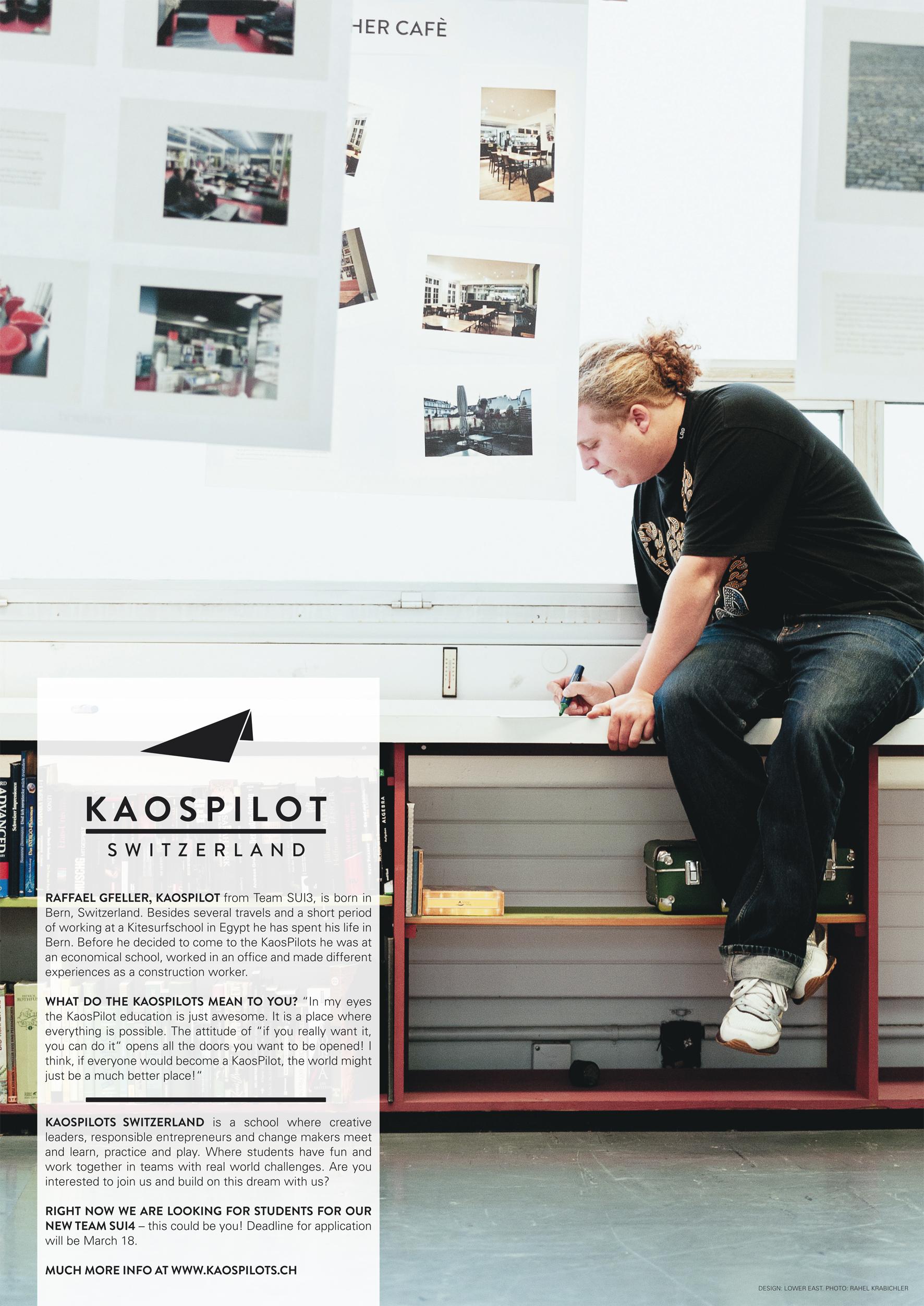 Posters KaosPilots Switzerland. Graphic design: Lower East. Photo: Rahel Krabichler.