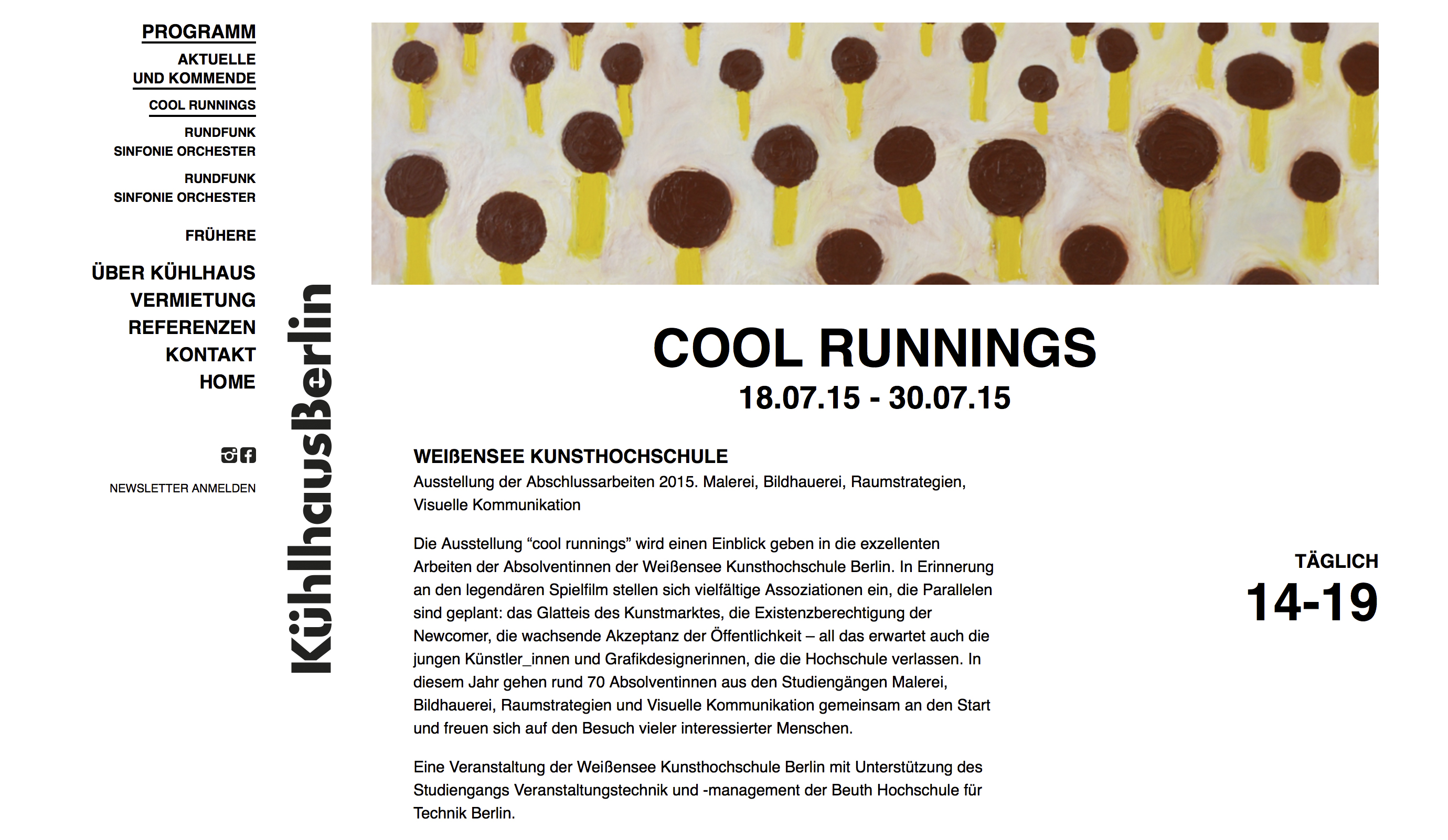 The Kühlhaus Berlin website, design by Lower East